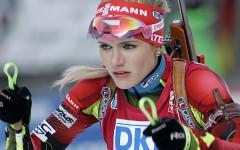 Deutschland 08. Januar 2014: Weltcup - Biathlon - Staffel  Damen -  Ruhpolding 2014. Bild: Gabriela Soukalova, CZE # Foto:Sport Moments/Bietau #